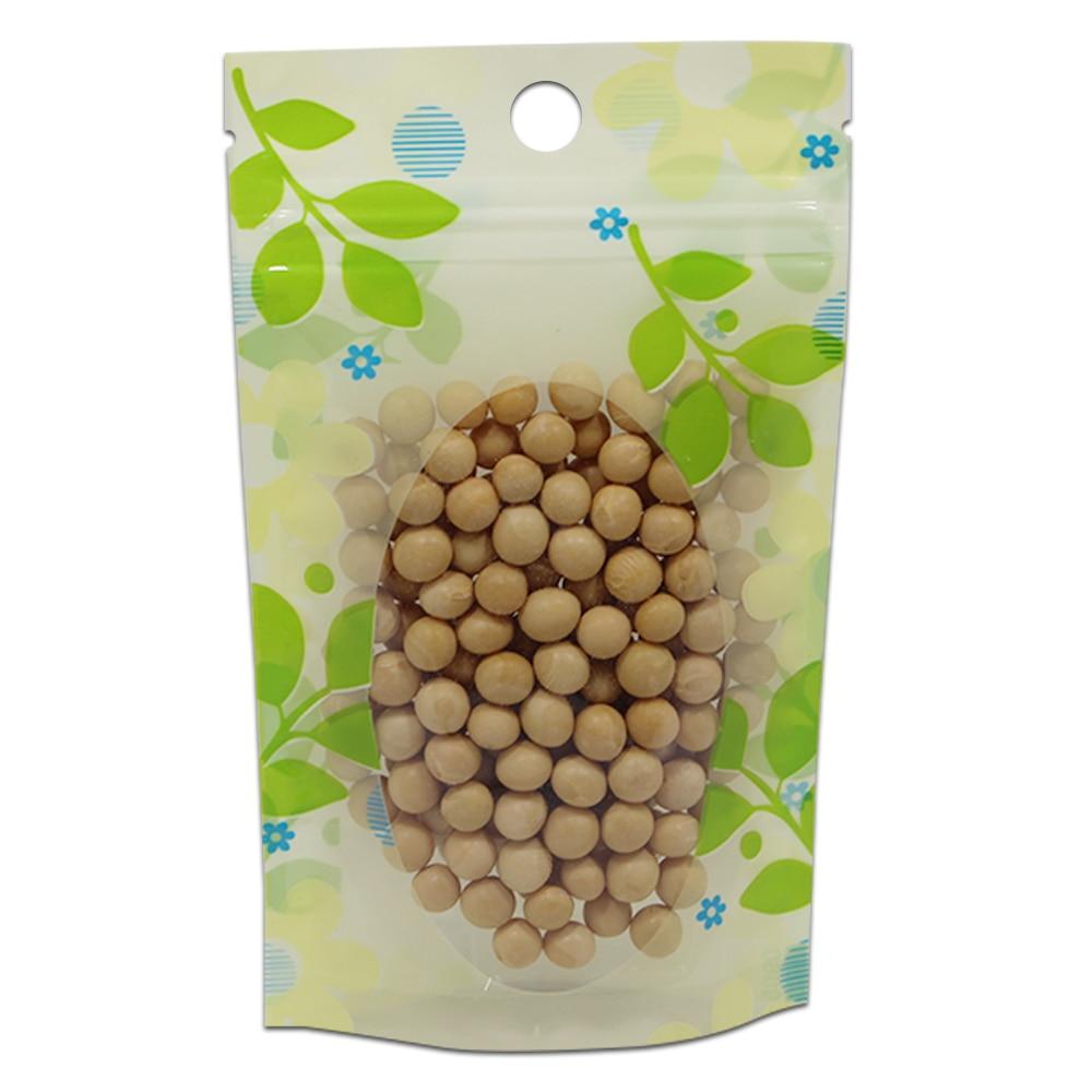 Sac de fermeture à glissière en plastique emballage feuille impression Stand Up avec fenêtre transparente accrocher trou haricots noix Fruits secs emballage pochettes 2 tailles