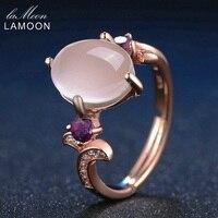 LAMOON 8x10mm Oval Rose Quartz Regulowany Pierścionki 925 Sterling Silver Amethyst Kamień Romantic Wedding Band Pierścień Grzywny biżuteria