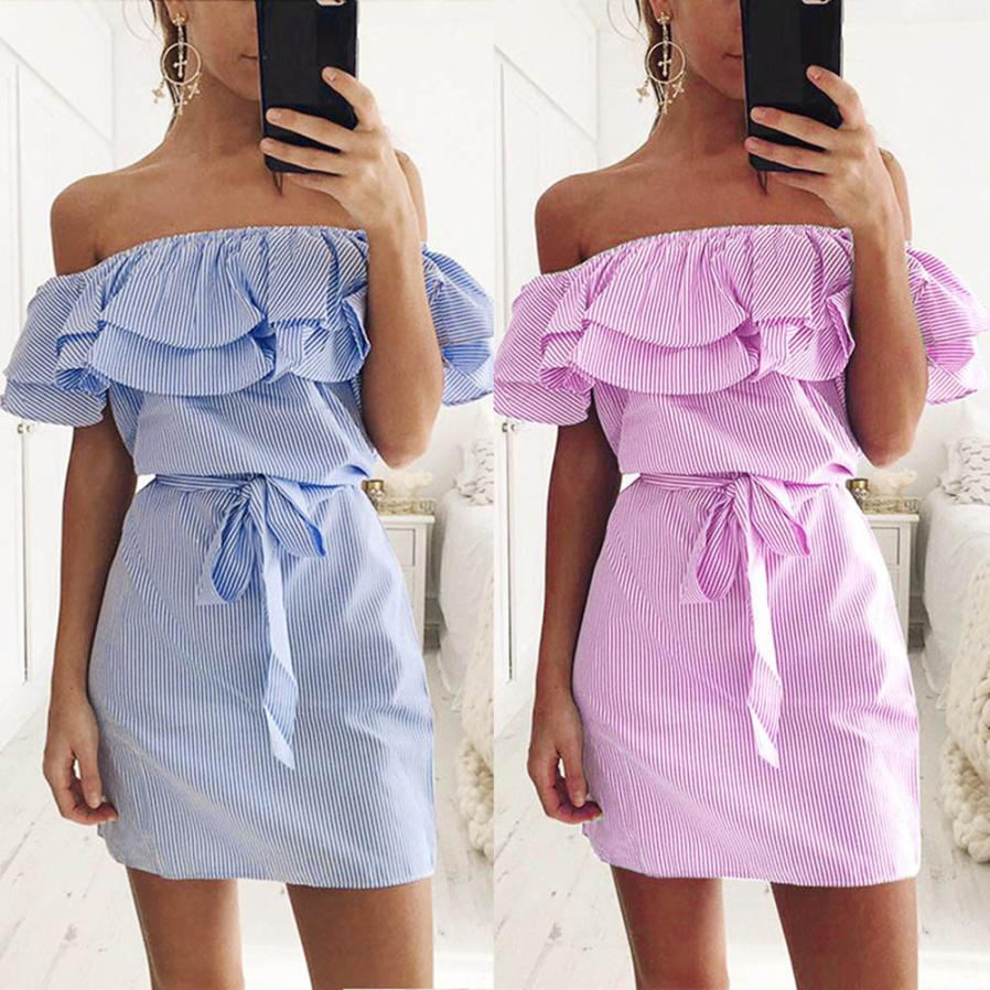 KANCOOLD Dress Fashion Women Summer Striped Off The Shoulder Ruffle Dress With Belt Party Casual Dress Women 2018jul20