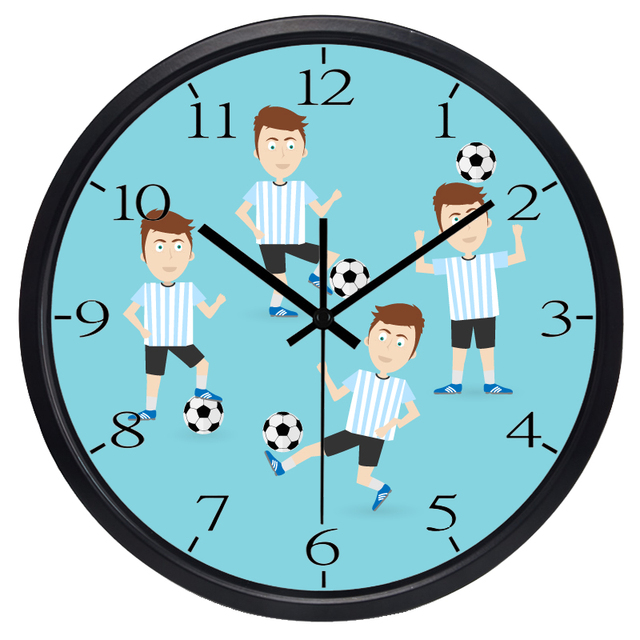 Cartoon Jungen Zimmer Football Fans Club Wanduhr, Kinderzimmer ...