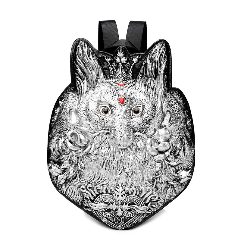 Men Backpack Rivet 3D Fox vintage Gothic Carving Embossed Shoulder Bag Travel Backpack Restore Halloween Cool Leather laptop Bag mco large capacity men restore 3d cool lion backpack gothic embossing bag leather shoulder bag with hood cap travel backpack