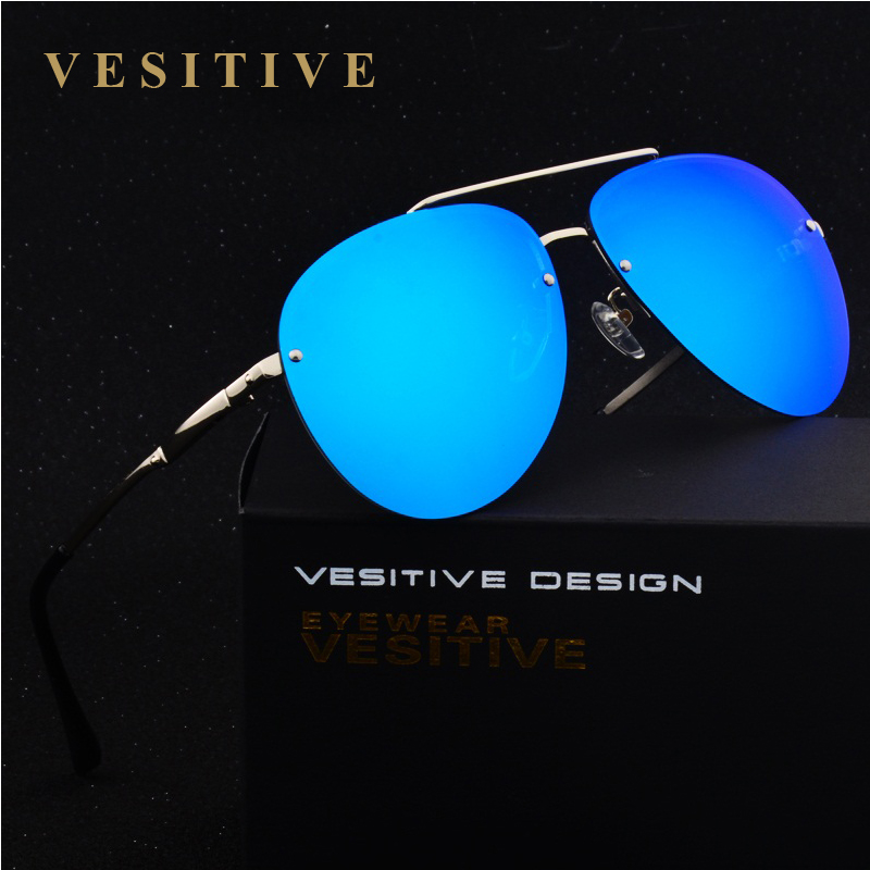 VESITIVE Brand Alloy frame Rimless Polarized sunglasses Super light Men Driving mirror Sunglasses designer Sport sun glasses