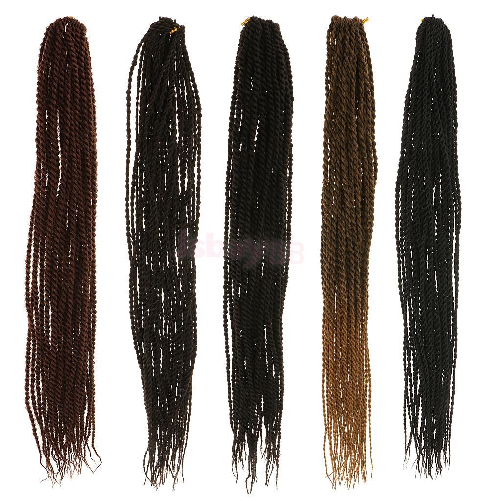 "22"" Micro Small Senegalese Twist Crochet Braid Hair Extensions 100g 32 Strands / Pack Black Brown"