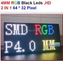 DIY P4 smd modułu led, wysoka rozdzielczość, wysoka jasne, czarny diody, 1/16 skanowania, 256x128mm, 64x32 pikseli wyświetlacz wewnętrzny led rgb panel