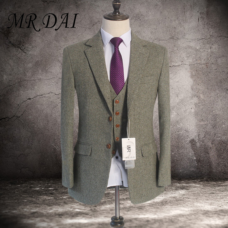 MD-007 Brown Classic Tweed custom made men slim fit suit Blazers Retro gentleman style tailor made wedding suits for men 3 Piece
