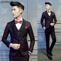 Burgundy Suit Smoking Dress Men Luxury Dinner Jacket Trajes Hombres 2016 Jacquard Collar Mens Wedding Suits Groom Suit 3pcs