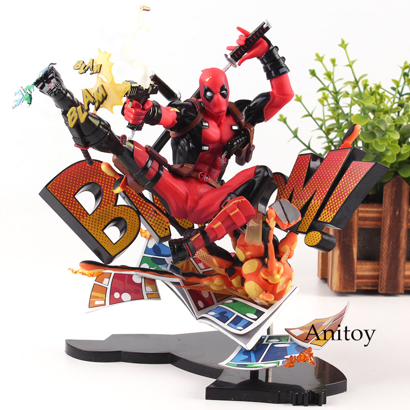 Marvel Action Figures Marvel Universe BLAM! Deadpool Figure Toys Deadpool Breaking the Fourth Wall Statue Figurine 20cm marvel action figures marvel universe blam deadpool figure toys deadpool breaking the fourth wall statue figurine 20cm