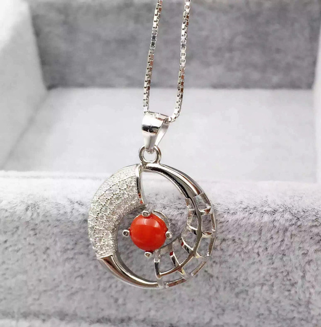 Natural red coral pendant 925 sterling silver natural gemstone natural red coral pendant 925 sterling silver natural gemstone pendant necklace trendy elegant round for women aloadofball Images