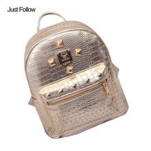 Просто следуйте Женщины Омывается искусственная кожа женский рюкзак школьный книга Сумка Женщины золото бархат небольшой рюкзак женская сумочка