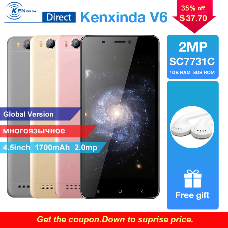 New Smartphone V6 4.5″ Screen 1G RAM+8G ROM Quad Core SC7731SC 1.2Ghz Mobile Phone Andriod7.0 OS 1.2Ghz Unlocked Phone+Earphone