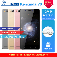 New Smartphone V6 4.5″ Screen 1G RAM+8G ROM Quad Core SC7731SC 1.2Ghz Mobile Phone Andriod7.0 OS 1.2Ghz Unlocked Phone+Earphone
