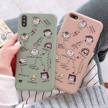For iPhone X Cartoon Simple Plain Thin Phone Case TPU soft shell Back Cover For iPhone X 6 6s 7 8 Plus The Original soft shell