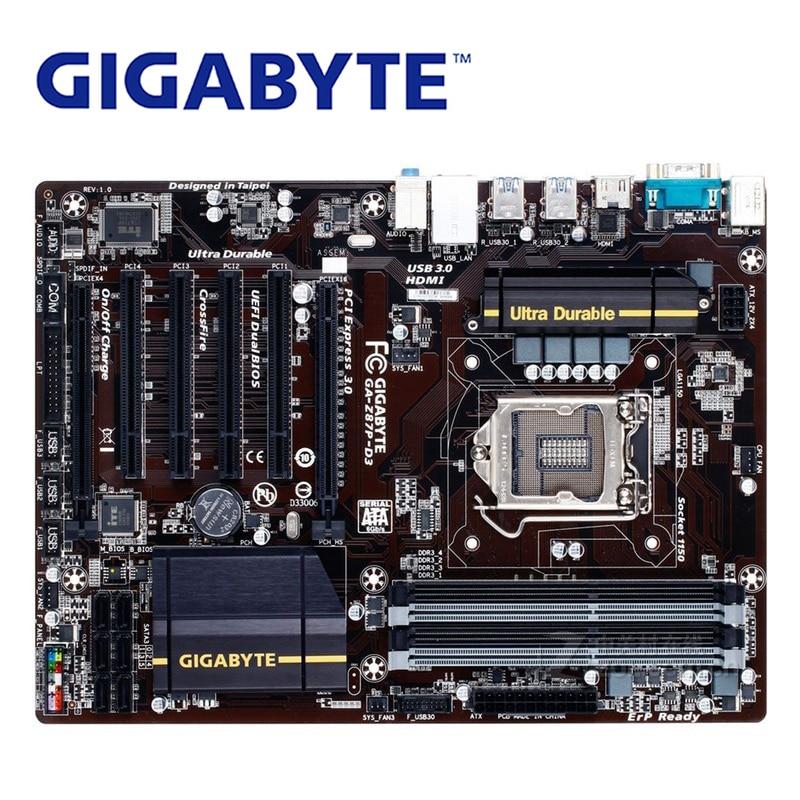 LGA 1150 Pour Intel Gigabyte GA-Z87P-D3 Carte Mère Z87 DDR3 USB3.0 32 GO SATA III Z87P D3 De Bureau Carte Mère Z87P-D3 Utilisé