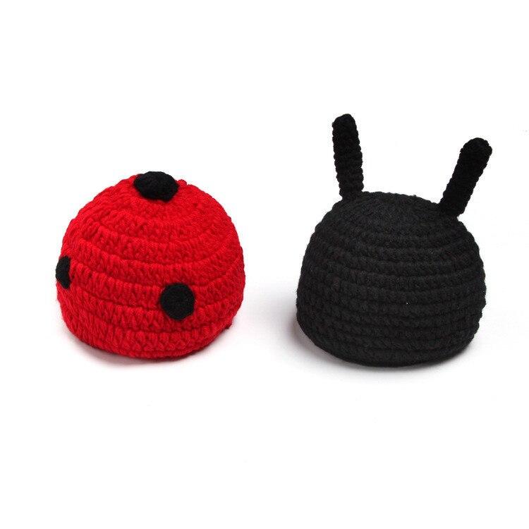 Estilo mariquita fotografía recién nacido bebé crochet sombrero ropa ...
