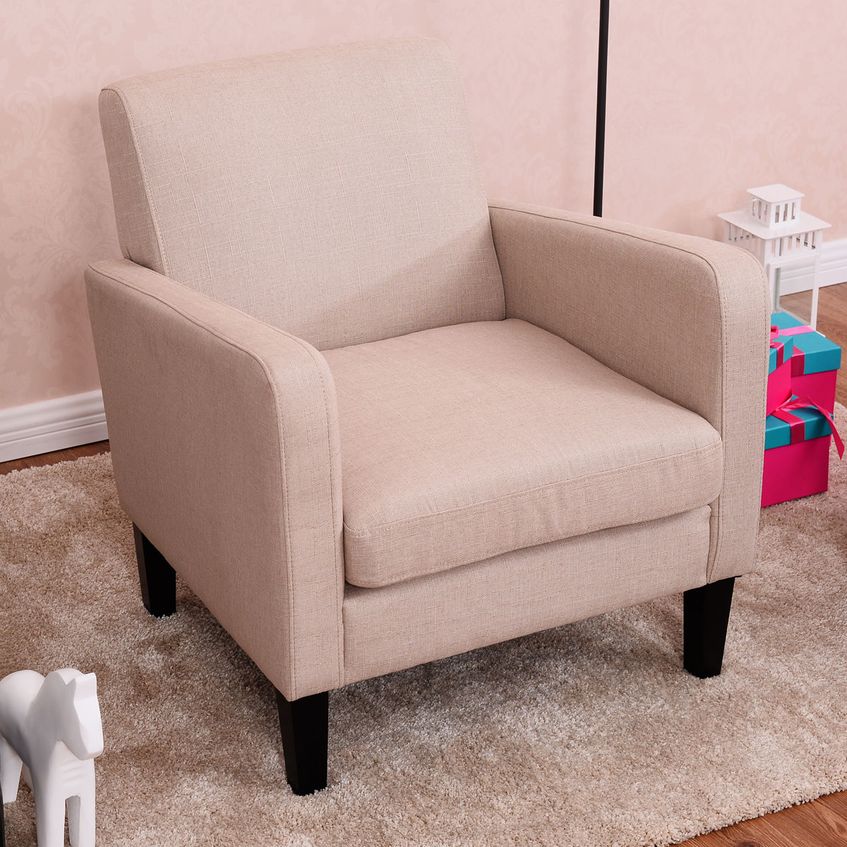 Giantex Leisure Arm Chair Accent Single Sofa Fabric Upholstered Living Room Modern Chairs Sofa Home Furniture HW53954BE european leisure tables and chairs fashion leisure sofa chair small coffee table beauty salon to discuss the single chair 3pcs