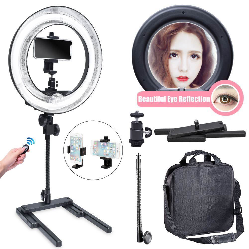 Studio 5500K 400W 34cm  Video Diva Ring Light + 360 Phone Holder + Table Top Stand for Photography Video Selfie 220VStudio 5500K 400W 34cm  Video Diva Ring Light + 360 Phone Holder + Table Top Stand for Photography Video Selfie 220V