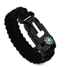 купить Braided Bracelet Men Women Paracord Outdoor Survival Bracelet Camping Rescue Emergency Rope Bangles Compass Whistle Knife 4 in 1 по цене 129.35 рублей