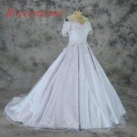 Robe de Noiva manches courtes robe de bal dentelle robe de mariée fait à la main fleur de mariage robe faite sur commande usine prix de gros
