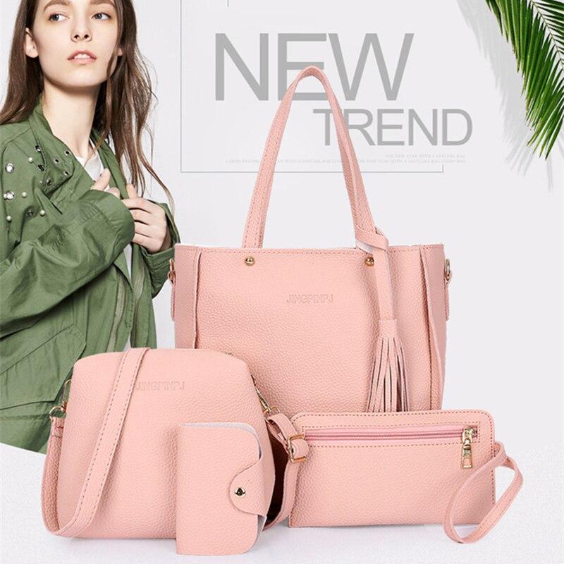 Mulheres Top-Handle Bags Composto Fêmea Sacos 2018 Das Mulheres Sacos Do Mensageiro Bolsa Conjunto de Couro PU Carteiras Chave Conjunto de Saco