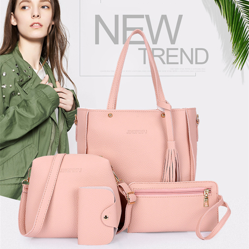 Women Top Handle Bags Female Composite Bags 2018 Women Messenger Bags Handbag Set PU Leather Wallets