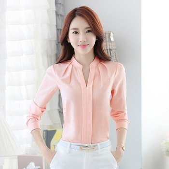 Spring Autumn Office Lady Shirt Women Long Sleeve Chiffon Blouse Women V-Neck Tops Female Work Wear 3 Colors