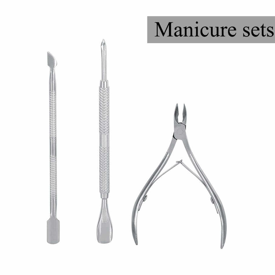 Stainless Steel Nail Cuticle Spoon Pusher Remover Cutter Nipper Clipper Cut Manicure Pedicure Set Beauty Nail Clipper Tools