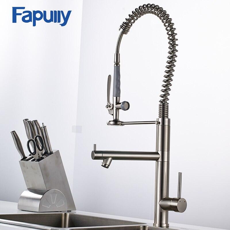 Fapully Кухня раковина кран Матовый Никель водопроводный кран 360 градусов вращающийся Кухня коснитесь латунь бортике смеситель