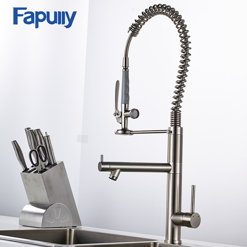 Fapully Kitchen Sink Faucet Brushed Nickel Water Faucet 360 Degree Rotating Kitchen Tap Brass Deck Mounted Mixer Tap