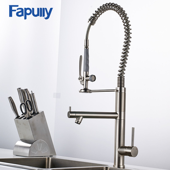 Fapully Kitchen Sink Faucet Brushed Nickel Water Faucet 360 Degree Rotating Kitchen Tap Brass Deck Mounted Mixer Tap donyummyjo best quality wholesale and retail kitchen sink black water faucet 360 degree rotating deck mounted kitchen mixer taps