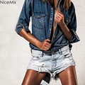 NiceMix Mulheres Casuais Bolso Shorts Jeans Rasgado Buraco Do Vintage Franja Shorts Jeans Menina do Verão Quente Curto