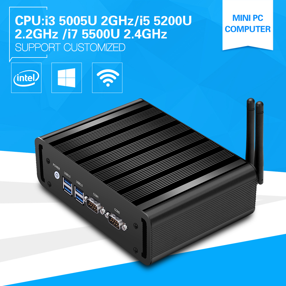 Mini PC Core i7 5500U i5 5200U i3 5005U Dual Core Mini Desktop Computer Windows 10 Dual LAN Dual COM WIFI hot sale celeron mini pc desktop computers dual lan mini pc x29 j1800 j1900 2 gigabit lan hdmi vga windows 7 win10 ubuntu