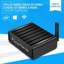 Mini PC Core i7 5500U i5 5200U i3 5005U Dual Core Mini Desktop Computer Windows 10 Dual LAN Dual COM WIFI