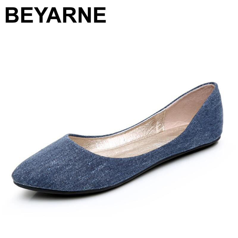 BEYARNE New Women Soft Denim Flats Blue Fashion High Quality Basic Pointy Toe Ballerina Ballet Flat Slip On Office Shoes 2018 new women flats fashion soft bottom diamond pointy toe ballerina ballet flat slip on women shoes b201