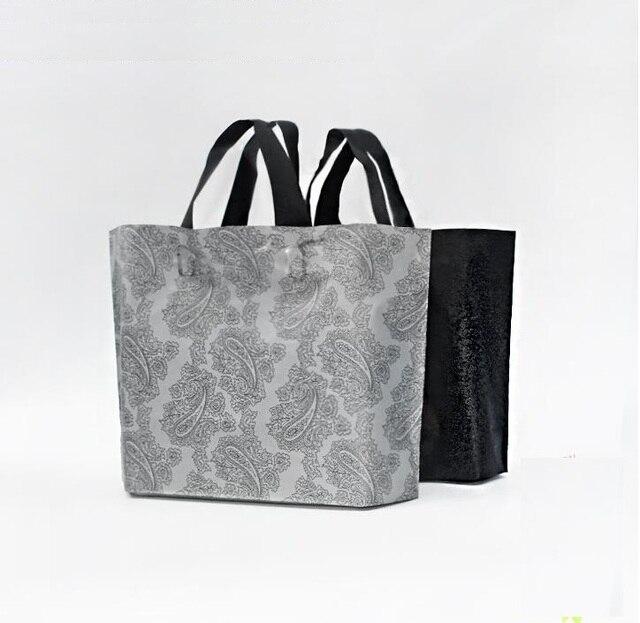 45x35cm Sliver Plastic Gift Bag Large Black Boutique Carrier ...