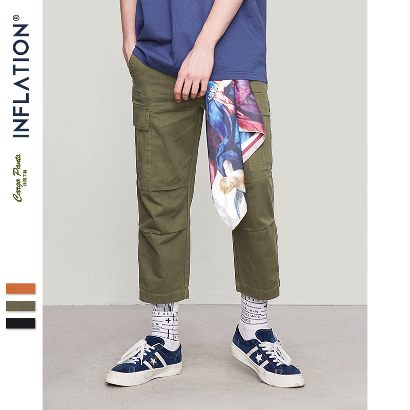 INFLATION Male Jogger Casual Plus Size Cotton Trousers Multi Pocket Military Style Loose Fit Ankle-length Cargo Pants 8403S