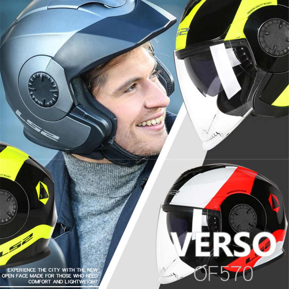 LS2 Rosto Aberto Capacete Da Motocicleta Scooter Casco Casque Capacete Capacetes de Moto Capacetes Jet Leme Para Moto OF570 VERSO LS2