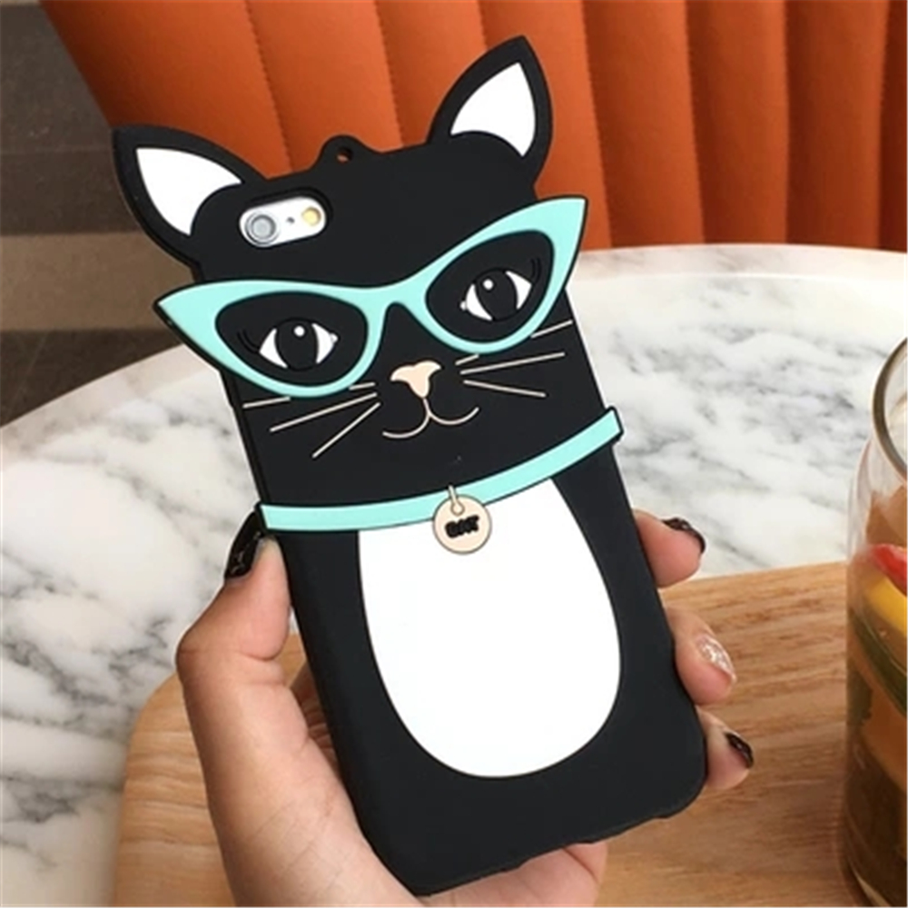 Funny 3d cute cartoon black <font><b>glasses</b></font> cat mobile phone <font><b>protective</b></font> <font><b>shell</b></font> ultra thin soft <font><b>silicone</b></font> <font><b>case</b></font> <font><b>for</b></font> <font><b>iPhone</b></font> 6 6s plus