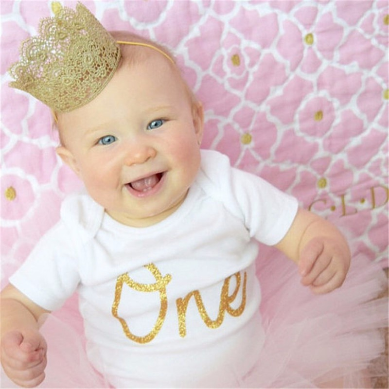 10pcs/lot Artificial Elegant Infant Newborn Mini Felt Glitter Gold Lace Crown Headbands For Baby Girls DIY Hair Accessories