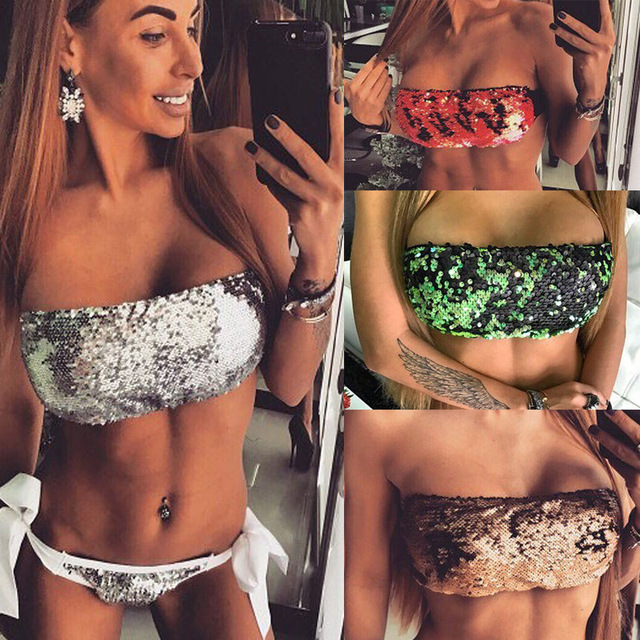 dffc2a625ad90 2018 New Sexy Sequins Wrapped In Chest 2 Pieces Bikini Sets Women Sequins  Swimsuit Ladies High Quality Bathing Suit Beach Sports