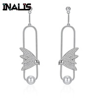 INALIS New Luxurious Wedding Jewelry 925 Sterling Silver Micro Paved Tiny CZ Crystal with Pearl Swallow Dangle Drop Earrings