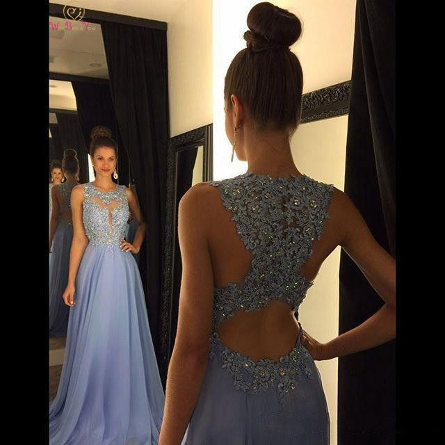 Elegant Sequined Crystal Evening   Dress   2019 A Line Sleeveless O Neck Floor Length Long   Prom     Dresses   Special Back robe de soiree