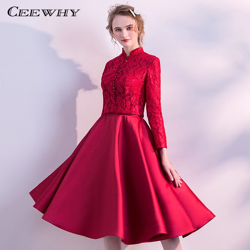 CEEWHY Two Pieces Vintage   Cocktail     Dresses   with Jacket Long Sleeve Lace Satin Formal   Dress   Knee Length Graduation   Dresses