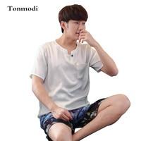 Men S Pajamas Summer Viscose Sleepwear Short Sleeve Thin Silk Sleepwear Male Lounge Pajama Set