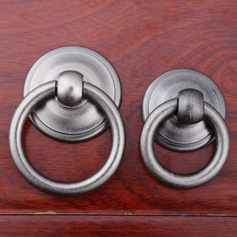 Europe Retro Drop Rings Furniture Knobs Black Antique
