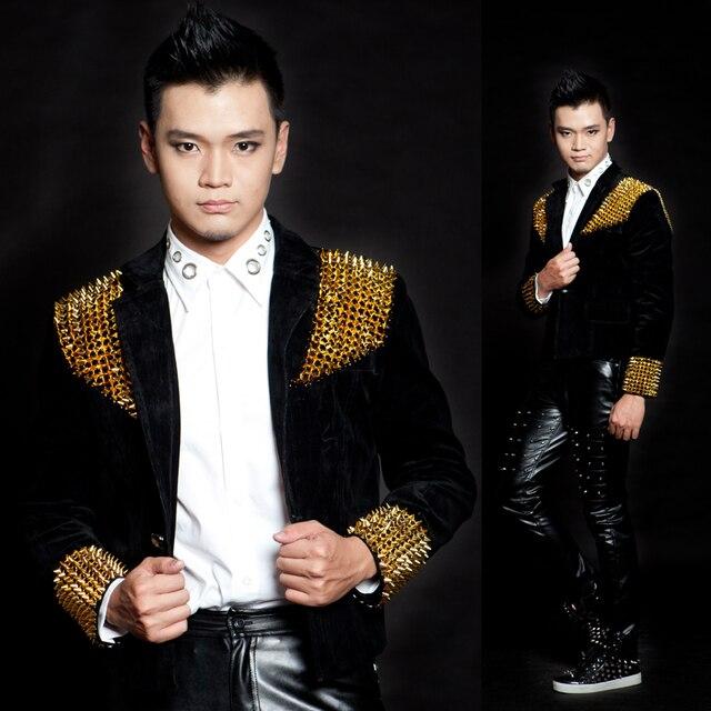 Мужчины для 3 м. Дэнни DS вилочная часть DJ костюм черный золото заклёпка короткая дизайн приталенный пиджак певица сцена костюм одежда / XS-3XL