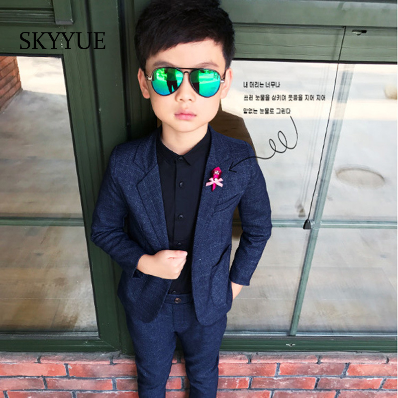 все цены на Fashion Kids Blazer Baby Boys Suit Jackets 2018 Spring Cotton Coat Pants 2 Piece Boy Suits Formal For Wedding Chlidren Clothing онлайн
