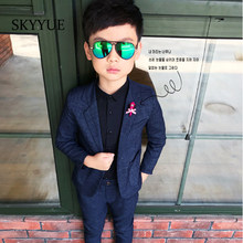 Fashion Kids Blazer Baby Boys Suit Jackets 2019 Spring Cotton Coat Pants 2 Piece Boy Suits Formal For Wedding Chlidren Clothing(China)