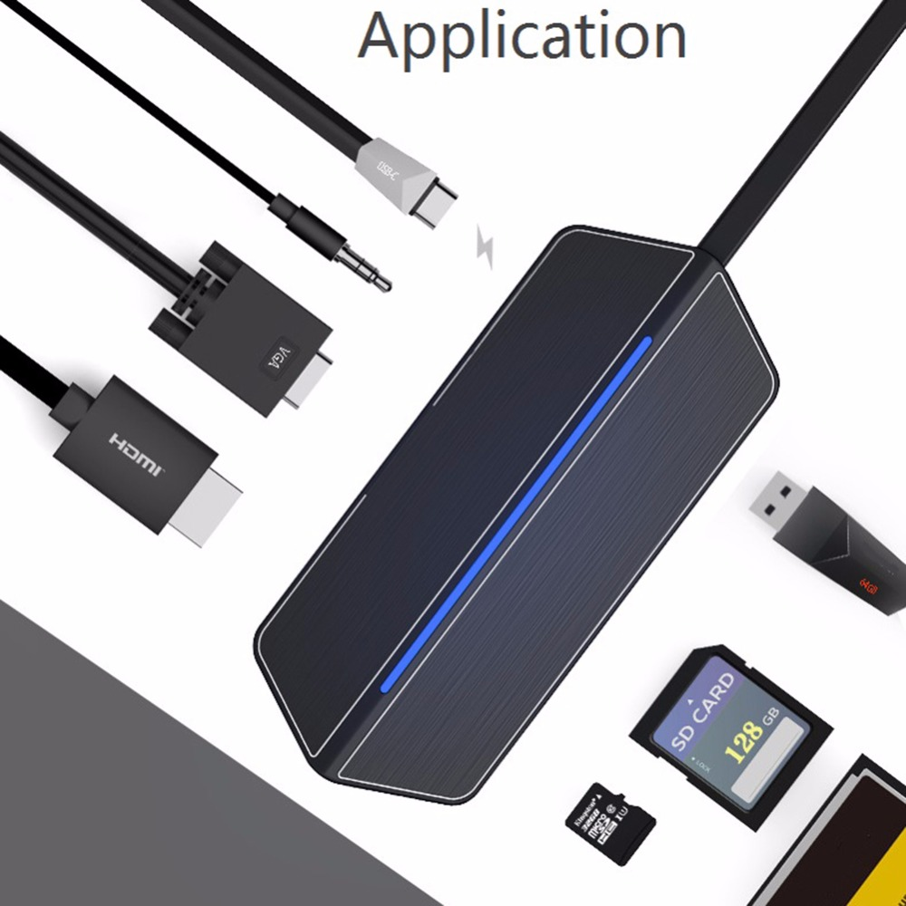 8 In 1 Type-c Expansion Adapter USB-C Hub With USB Type-C 3.0 Hi-Speed Data Syncing HDMI Port SD/TF Card Reader For MacBook Pro aluminum usb 3 1 type c to 3 port usb 3 0 high speed usb hub with tf sd card reader support up to 5gbps transation for macbook