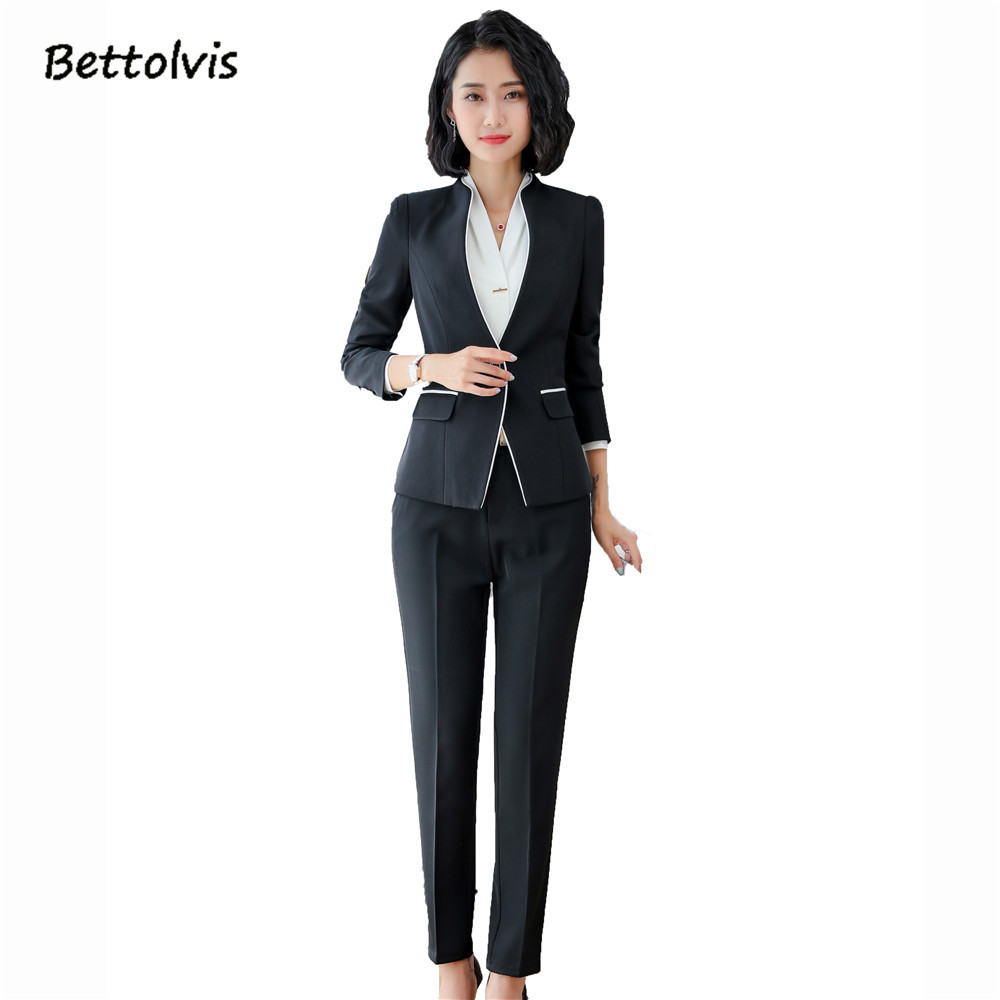 9f943cac9d [o] 2018 Spring Autumn female work wear long sleeve blazer with skirt S 5XL  Black Gray Skirt suits pantalones suits traje mujer -in Skirt Suits from  Women's ...