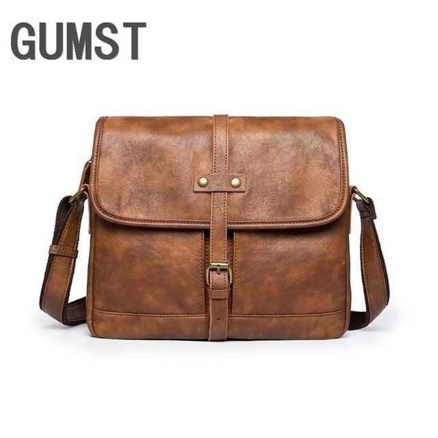 GUMST 2019 Mens High Grade PU Leather Vintage Shoulder Bag Crossbody Bag Handbag Casual Messenger Bag Male Briefcase